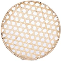 100% Handwoven Flat Wicker Round Fruit Basket Woven Food Storage Weaved Shallow Tray Organizer Ho... | Amazon (US)