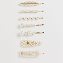 ASOS DESIGN pack of 8 hair clips in mixed shape design with pearls-Cream | ASOS (Global)