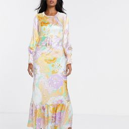 ASOS DESIGN belted maxi tea dress with balloon sleeve in floral print-Multi | ASOS (Global)