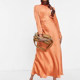 ASOS DESIGN high neck maxi satin tea dress in rust-Red | ASOS (Global)