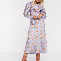 ASOS DESIGN satin maxi dress with puff sleeves in lilac floral print-Multi | ASOS (Global)