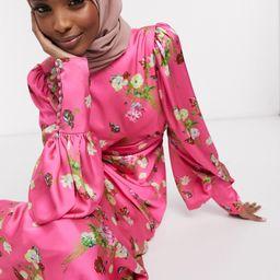 ASOS EDITION satin wild flower print maxi dress-Pink | ASOS (Global)