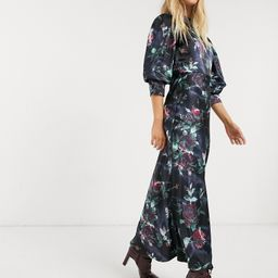 ASOS DESIGN satin high neck maxi dress with cowl back in rose floral print-Multi | ASOS (Global)