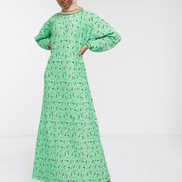 ASOS DESIGN plisse maxi dress with long sleeves in green floral | ASOS (Global)