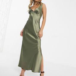 ASOS DESIGN satin bias midi cami slip dress-Green | ASOS (Global)