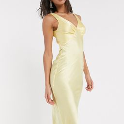 ASOS DESIGN satin bias midi cami slip dress in yellow | ASOS (Global)