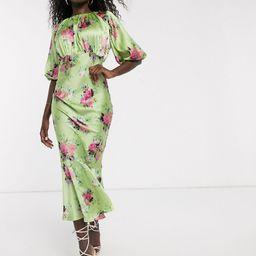 ASOS DESIGN satin bias midi dress with puff sleeves in bright floral print-Multi | ASOS (Global)