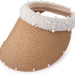 Somewhere Haute Womens Wide Brim Straw Visor with Pearl Headband for Beach Outdoor Sun Hats   Amazon (US)