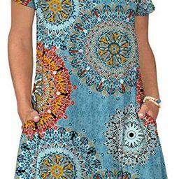 Sherosa Womens Summer Floral Print Sleeveless Sundress/Short Sleeve Pockets Casual Loose Swing T-...   Amazon (US)