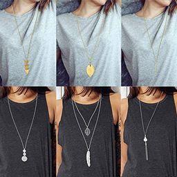 FUNEIA 6 PCS Long Pendant Necklace for Women Simple Bar Layer Three Triangle Tassel Y Charm Neckl...   Amazon (US)