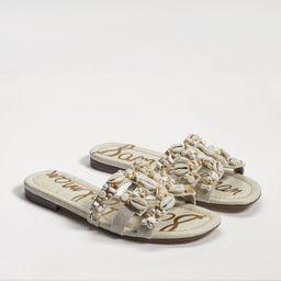 Sam Edelman Bay 8 Embellished Slide Sandal Nautral Linen | Sam Edelman