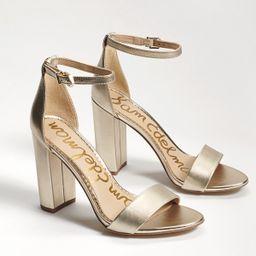Sam Edelman Yaro Block Heel Sandal Light Gold Leather | Sam Edelman