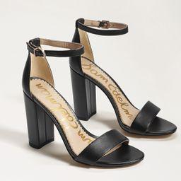 Sam Edelman Yaro Block Heel Sandal Black Leather | Sam Edelman