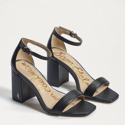 Sam Edelman Daniella Block Heel Sandal Black Leather | Sam Edelman