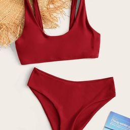 Plain Scoop Neck Bikini Swimsuit | SHEIN