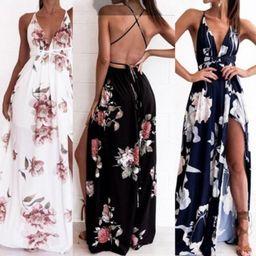 Womens Floral Long Maxi Dress Sleeveless Evening Party Summer Beach Sundress | Walmart (US)