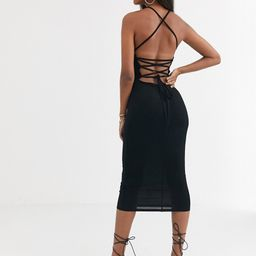 ASOS DESIGN going out strappy back midi dress in black | ASOS (Global)
