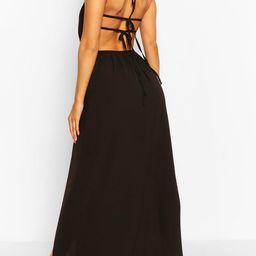 Womens Woven Strappy Back Halterneck Split Maxi Dress - Black - 14 | Boohoo.com (US & CA)