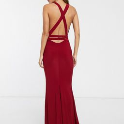 Club L London strappy cross back fishtail maxi dress-Red | ASOS (Global)