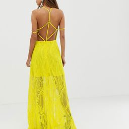 ASOS DESIGN maxi dress in lace cutwork with strappy back and metal ring detail-Green | ASOS (Global)