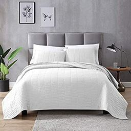 EXQ Home Quilt Set Full/Queen Size White 3 Piece,Lightweight Microfiber Coverlet Modern Style Sti... | Amazon (US)