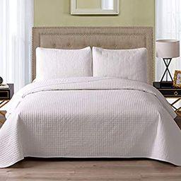 Exclusivo Mezcla 3-Piece Microfiber Queen Size Quilt Set Lightweight Bedspread Coverlet Set, Whit... | Amazon (US)