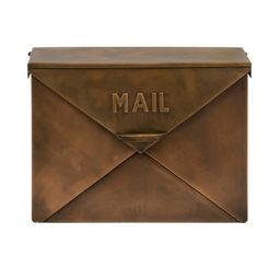Spacious Envelope Shaped Wall Mount Iron Mail Box, Copper Finish (Brown) | Overstock