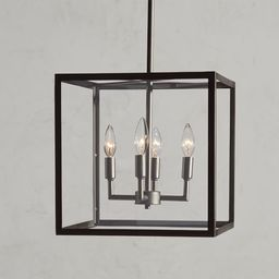 Manor Glass & Iron Outdoor Square Pendant | Pottery Barn (US)