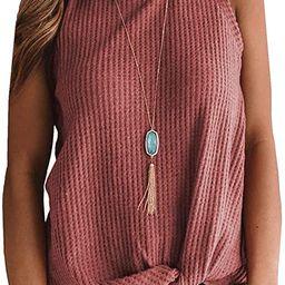 Womens Casual Tops Sleeveless Cute Twist Knot Waffle Knit Shirts Tank Tops   Amazon (US)