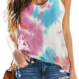Women's Sleeveless Yoga Workout Tank Tops Cute Printed Loose Fit Running Exercise T-Shirt | Amazon (US)