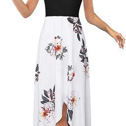Women's V Neck Sleeveless Casual Summer Sundresses Asymmetrical Patchwork Floral Maxi Dresses | Amazon (US)