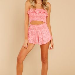 Can't Look Back Coral Print Two Piece Set | Red Dress