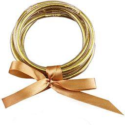 YBMYCM Glitter Jelly Bangles Bracelets Set for Women Glitter Filled Jelly Silicone Bracelets for ... | Amazon (US)