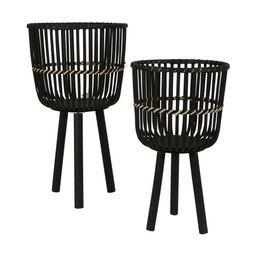 "28/22""H Bamboo Planters, Black (Set of 2) (Planter Pot - Wicker/Rattan - Assembled - Black - Modern    Overstock"