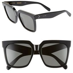 55mm Special Fit Polarized Square Sunglasses   Nordstrom