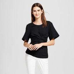 Women's Short Sleeve Wrap Waist T-Shirt - Mossimo Black M   Target