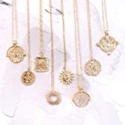 Gold medallion Necklace, Gold Disc Necklaces, Medallion Necklace, Sun Necklace, Eye Necklace,OPAL ne   Amazon (US)