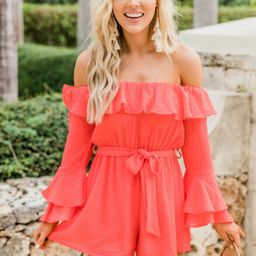 Always My Sweetest Love Coral Romper   The Pink Lily Boutique