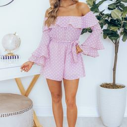 Always My Sweetest Love Lavender Polka Dot Romper   The Pink Lily Boutique