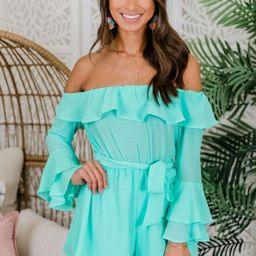 Always My Sweetest Love Mint Romper   The Pink Lily Boutique