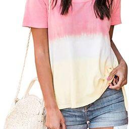 Blooming Jelly Women's Tie Dye Shirt Gradient Round Neck Top Causal Short Sleeve Loose Tee | Amazon (US)
