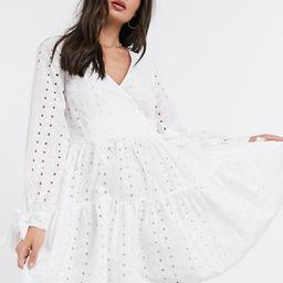 ASOS DESIGN tiered trapeze wrap mini dress in broderie in white | ASOS (Global)