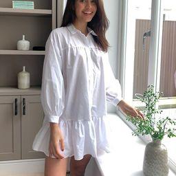 ASOS DESIGN cotton poplin trapeze oversized mini shirt dress in white | ASOS (Global)