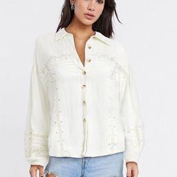 Free People Summer Stars lace insert shirt-White | ASOS (Global)