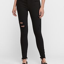 Mid Rise Black Raw Hem Ripped Ankle Skinny Jeans, Women's Size:18 | Express