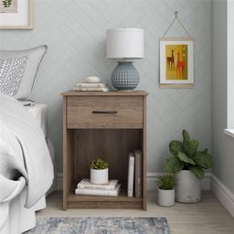 Mainstays Classic Nightstand with Drawer, Rustic Oak | Walmart (US)