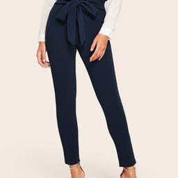 SHEIN Belted Paperbag Waist Skinny Pants   SHEIN