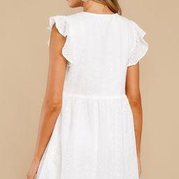 Be My Sweetheart White Eyelet Dress | Red Dress
