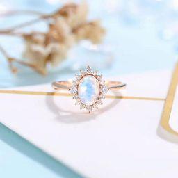 Moonstone Engagement Ring Women Rose Gold  Antique Oval cut | Etsy | Etsy (AU)
