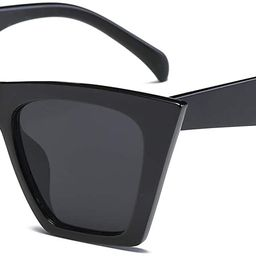 Vintage Square Cat Eye Sunglasses Women Fashion Small Cateye Sunglasses B2473 | Amazon (US)